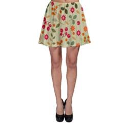 Elegant Floral Seamless Pattern Skater Skirt