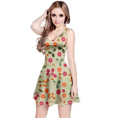 Elegant Floral Seamless Pattern Reversible Sleeveless Dress