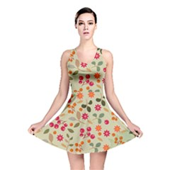 Elegant Floral Seamless Pattern Reversible Skater Dress