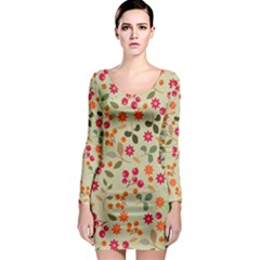 Elegant Floral Seamless Pattern Long Sleeve Bodycon Dress