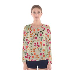 Elegant Floral Seamless Pattern Women s Long Sleeve Tee