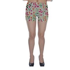 Elegant Floral Seamless Pattern Skinny Shorts