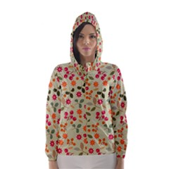 Elegant Floral Seamless Pattern Hooded Wind Breaker (Women)