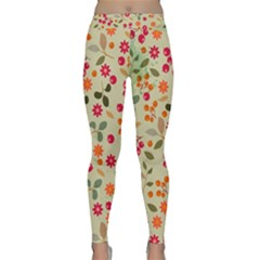 Elegant Floral Seamless Pattern Yoga Leggings