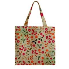 Elegant Floral Seamless Pattern Zipper Grocery Tote Bag