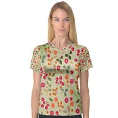 Elegant Floral Seamless Pattern Women s V-Neck Sport Mesh Tee