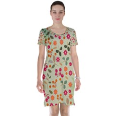 Elegant Floral Seamless Pattern Short Sleeve Nightdress
