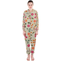 Elegant Floral Seamless Pattern Hooded Jumpsuit (ladies)