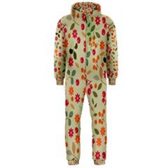 Elegant Floral Seamless Pattern Hooded Jumpsuit (men)