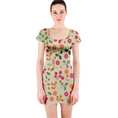 Elegant Floral Seamless Pattern Short Sleeve Bodycon Dress