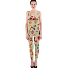 Elegant Floral Seamless Pattern OnePiece Catsuit