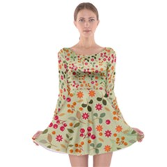 Elegant Floral Seamless Pattern Long Sleeve Skater Dress