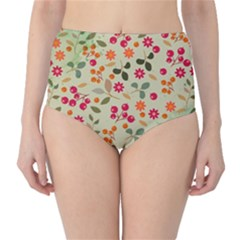 Elegant Floral Seamless Pattern High-Waist Bikini Bottoms