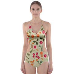 Elegant Floral Seamless Pattern Cut Out One Piece Swimsuit