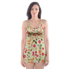 Elegant Floral Seamless Pattern Skater Dress Swimsuit