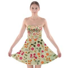Elegant Floral Seamless Pattern Strapless Dresses