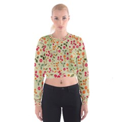 Elegant Floral Seamless Pattern Women s Cropped Sweatshirt