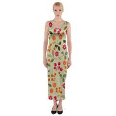 Elegant Floral Seamless Pattern Fitted Maxi Dress