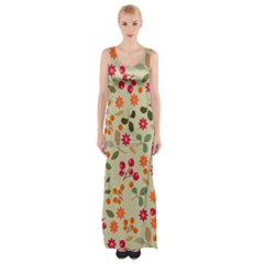 Elegant Floral Seamless Pattern Maxi Thigh Split Dress
