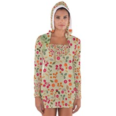 Elegant Floral Seamless Pattern Women s Long Sleeve Hooded T Shirt