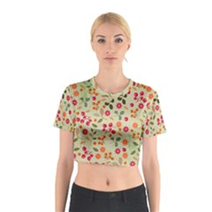 Elegant Floral Seamless Pattern Cotton Crop Top