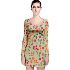 Elegant Floral Seamless Pattern Long Sleeve Velvet Bodycon Dress