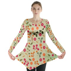Elegant Floral Seamless Pattern Long Sleeve Tunic