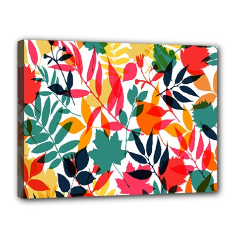 Seamless Autumn Leaves Pattern  Canvas 16  x 12