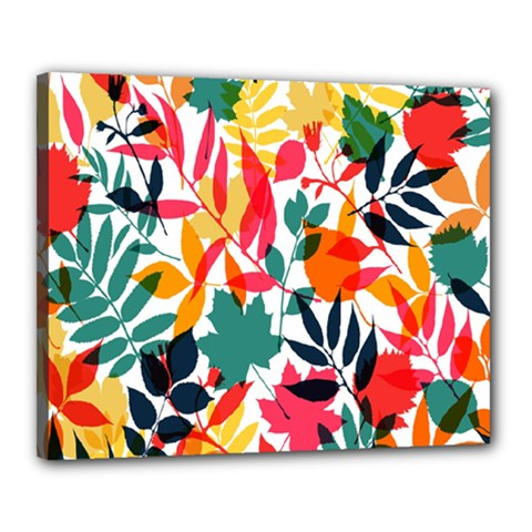 Seamless Autumn Leaves Pattern  Canvas 20  x 16