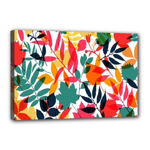 Seamless Autumn Leaves Pattern  Canvas 18  X 12