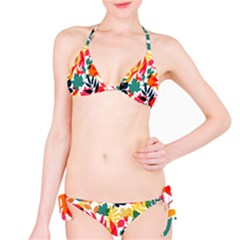 Seamless Autumn Leaves Pattern  Bikini Set