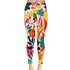 Seamless Autumn Leaves Pattern  Leggings