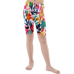 Seamless Autumn Leaves Pattern  Kid s Mid Length Swim Shorts