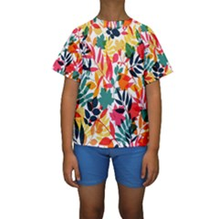 Seamless Autumn Leaves Pattern  Kid s Short Sleeve Swimwear