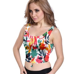 Seamless Autumn Leaves Pattern  Crop Top