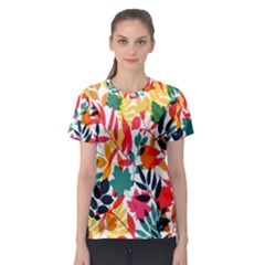 Seamless Autumn Leaves Pattern  Women s Sport Mesh Tee