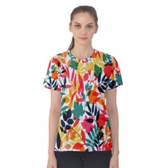 Seamless Autumn Leaves Pattern  Women s Cotton Tee