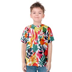 Seamless Autumn Leaves Pattern  Kid s Cotton Tee