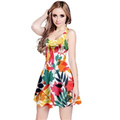 Seamless Autumn Leaves Pattern  Reversible Sleeveless Dress