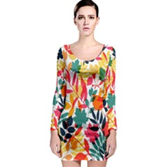 Seamless Autumn Leaves Pattern  Long Sleeve Bodycon Dress
