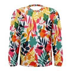 Seamless Autumn Leaves Pattern  Men s Long Sleeve Tee