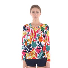 Seamless Autumn Leaves Pattern  Women s Long Sleeve Tee