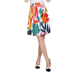 Seamless Autumn Leaves Pattern  A Line Skirt
