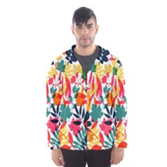 Seamless Autumn Leaves Pattern  Hooded Wind Breaker (men)