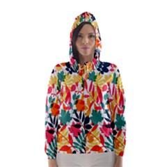 Seamless Autumn Leaves Pattern  Hooded Wind Breaker (Women)