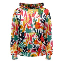 Seamless Autumn Leaves Pattern  Women s Pullover Hoodie