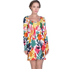 Seamless Autumn Leaves Pattern  Long Sleeve Nightdress