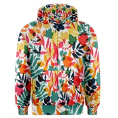 Seamless Autumn Leaves Pattern  Men s Zipper Hoodie