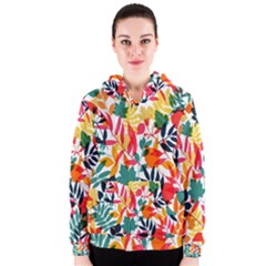 Seamless Autumn Leaves Pattern  Women s Zipper Hoodie