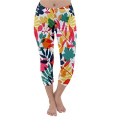 Seamless Autumn Leaves Pattern  Capri Winter Leggings